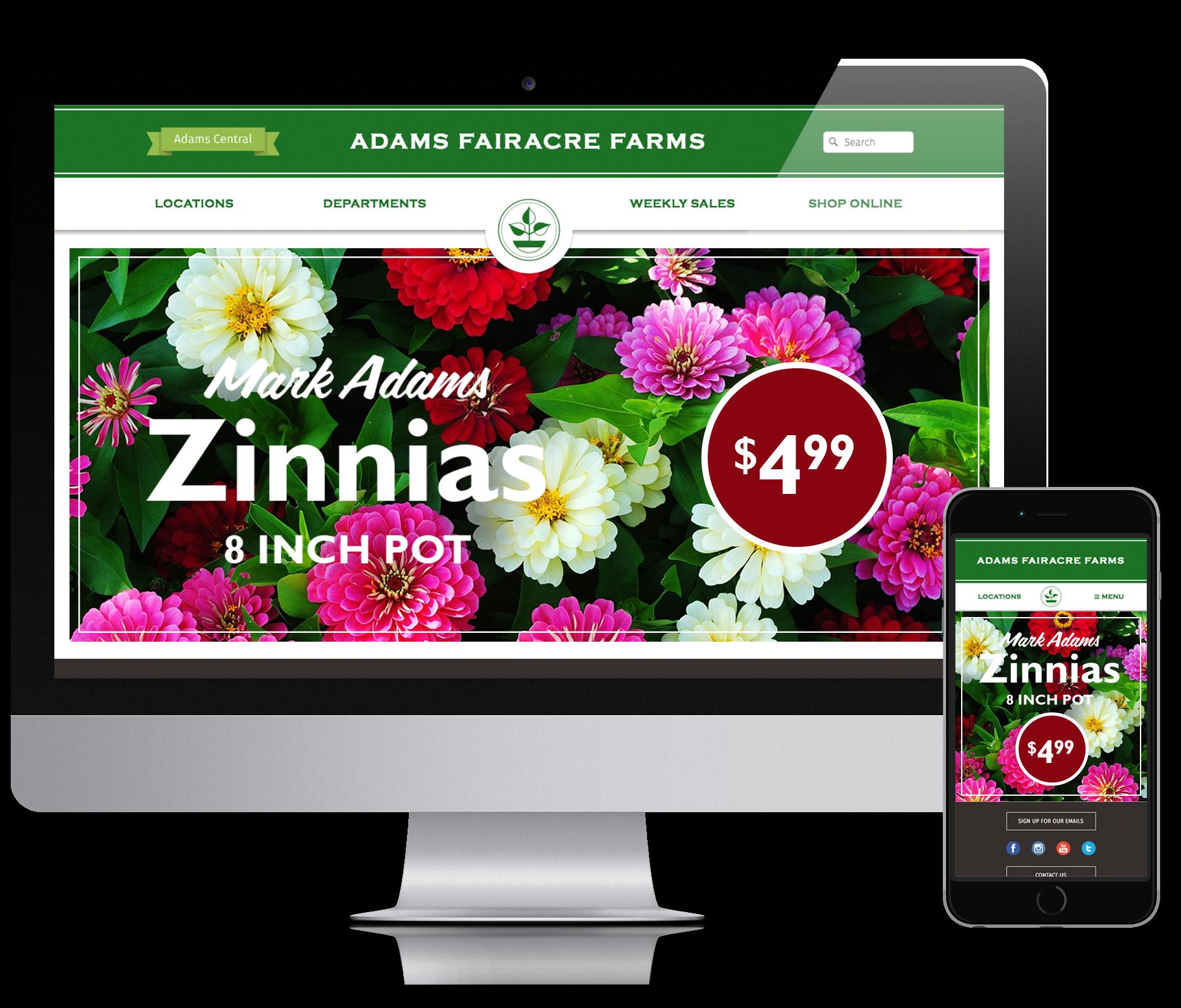 Adams Faireacre Farms Website Home Page